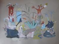 Aquarell, Buntstift, 48x65cm